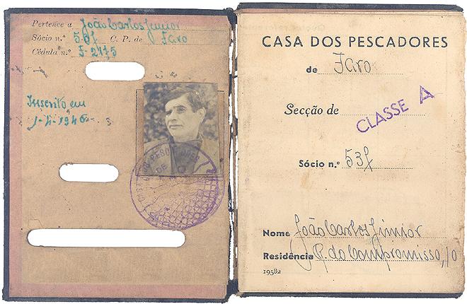 Caderneta de sócio da Casa dos pescadores-Faro: João Carlos Júnior - 1946 - Quota mensal 4$00